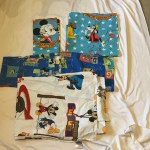 Vintage Disney Mickey Mouse Twin Flat Sheets Lot